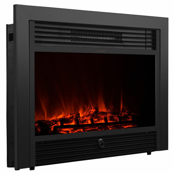 28.5quot; Embedded Electric Fireplace Insert Heater Remote Realistic wood log Glow