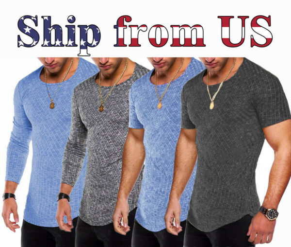 Men Casual Sport Round Neck Long Sleeve Slim Fit Top T Shirt Muscle Gym Active
