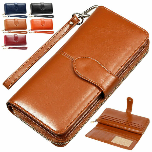 Women Long Wallets Money Clip Card Case Holder Large Capacity Purse Wrist Strap