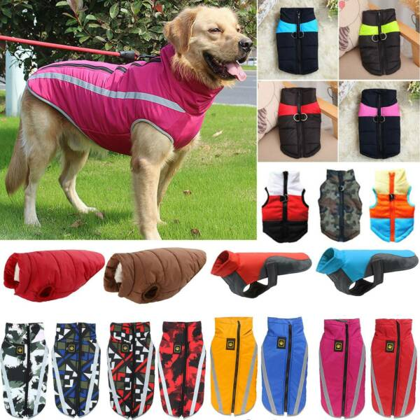 Pet Vest Jacket Warm Waterproof Pet Dog Clothes Small Large Winter Padded Coats $10.73