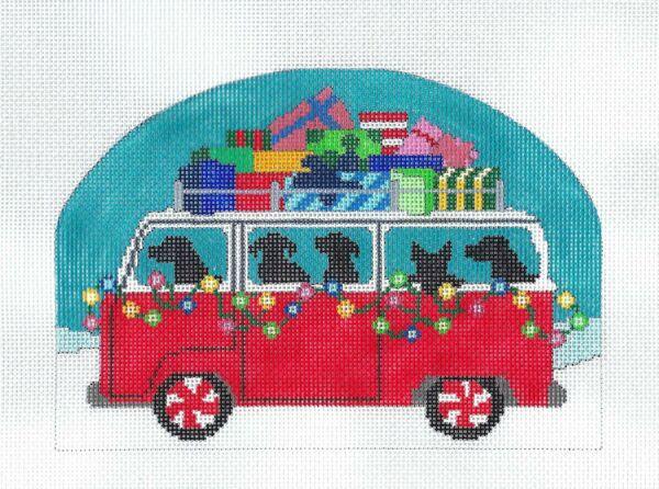 Christmas Dogs in VW Bus quot;HAPPY HOWLIDAYSquot; handpainted Needlepoint Canvas CBK $84.95