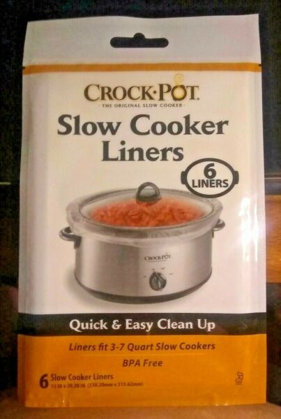 NEW Crock Pot Slow Cooker Liners Fits 3 7 Quart Slow Cookers 6 Pack Easy Cleanup
