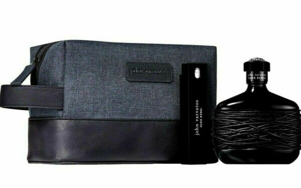 John Varvatos DARK REBEL 4.2 EDT Men#x27;s Cologne .57 2 PC with TRAVEL BAG New RARE