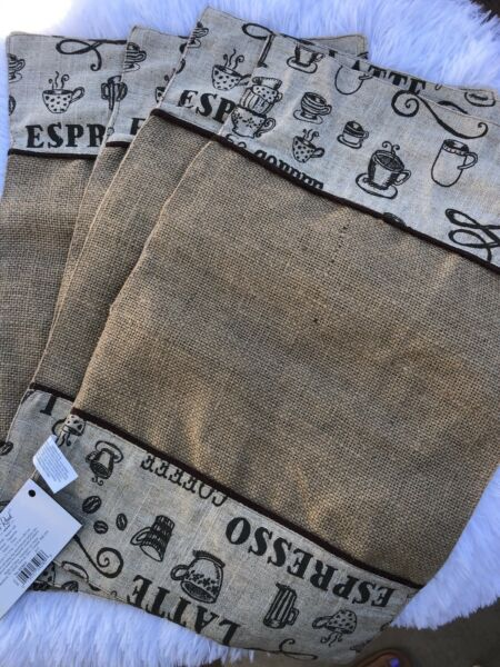Lot Of 4 Coffee Burlap Placemats Brand New Espresso