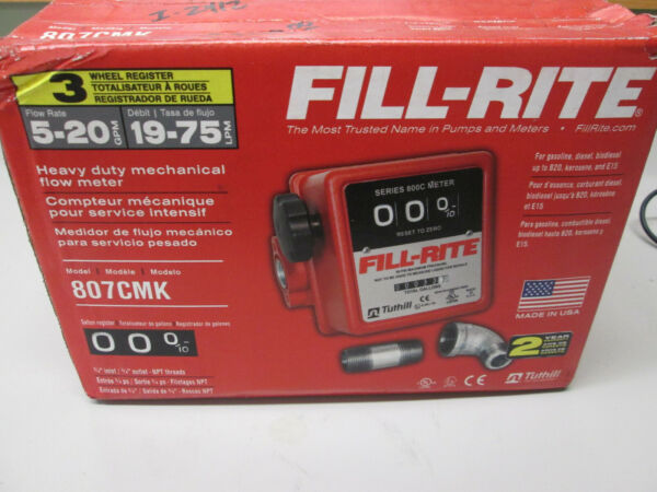 Fill Rite 3 Wheel Mechanical 3 4quot; in 3 4quot; Out Meter 5 20 GPM 50 PSI 807CMK $139.99