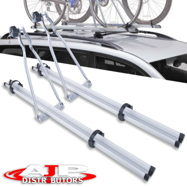 Universal Upright Lock Bike Bicycle Mounted Aluminum 53quot; Roof Rooftop Rack Pair $84.99