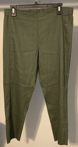 NEW J Jill Linen Stretch Cropped Ankle Pants Size Small Moss Green Capris $14.99
