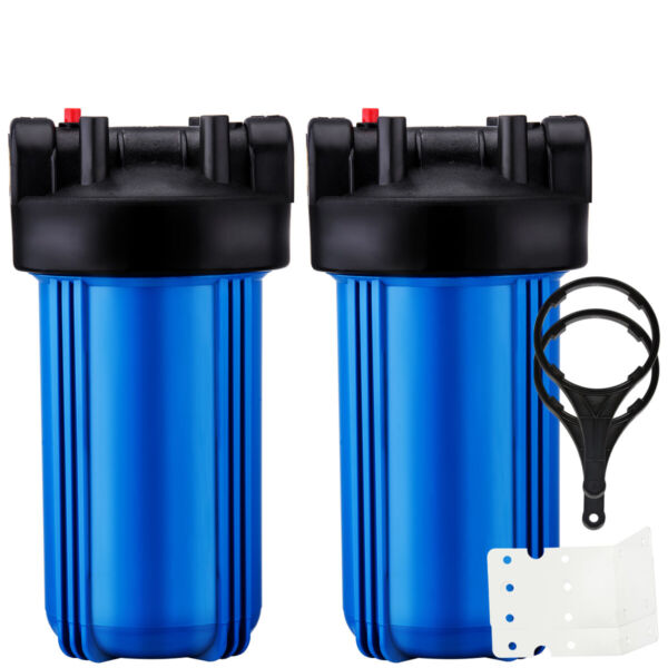 2 Pack 10quot; x 4.5quot; Big Blue Water Filter Housing For Whole House 1quot; Outlet Inlet