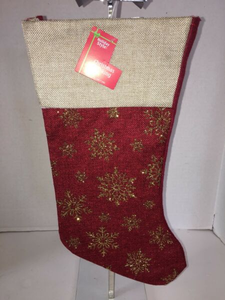 Holiday Tan Red Burlap Gold Glitz Snowflake Design 16quot; Christmas Stocking NWT