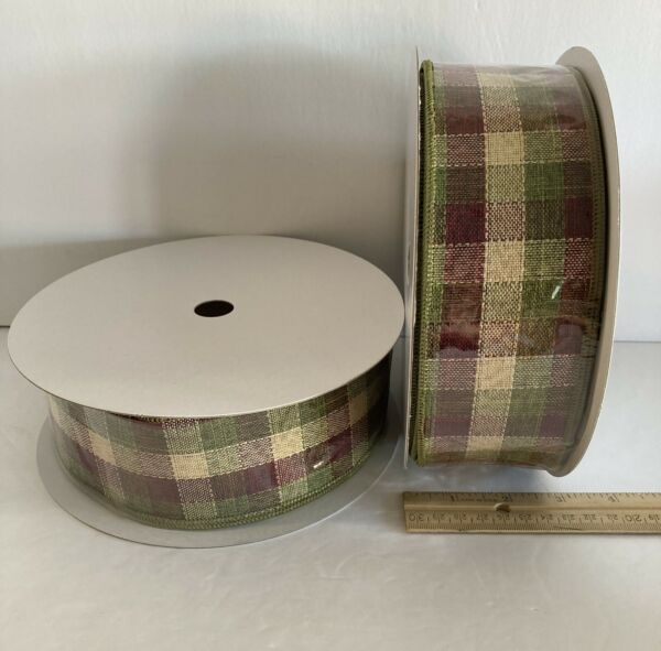 "Plaid Christmas Ribbon Green Dark Red Burlap Wired 2.5"" X 100' Lot Of 2 Rolls"