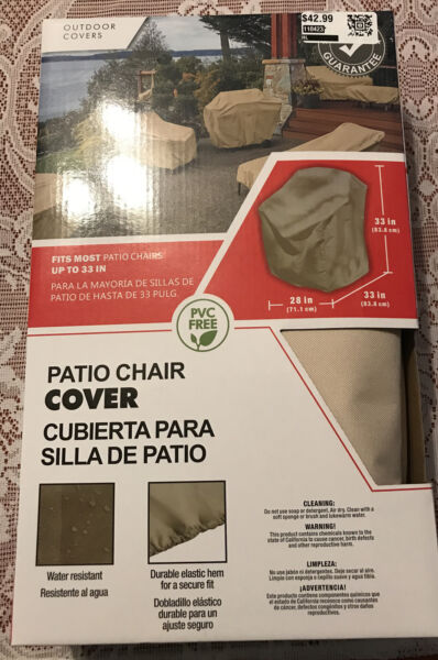 OUTDOOR COVERS PATIO CHAIR COVER ELASTIC HEM WATER PROOF UP TO 33 IN CANVAS NIB $26.00