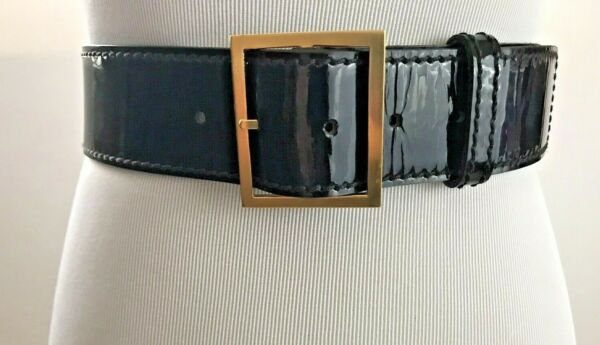 St. John Belt M Black Patent Leather Gold Tone Buckle Adjustable Made in USA