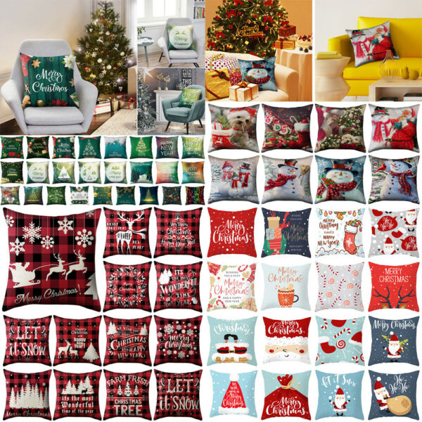 18quot; Christmas Xmas Cushion Cover Case Pillow Home Sofa Throw Decor