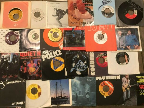 Lot of 70 80s Rock Pop Mix 16 Records 7quot; Single 45 rpm Jukebox w Sleeves