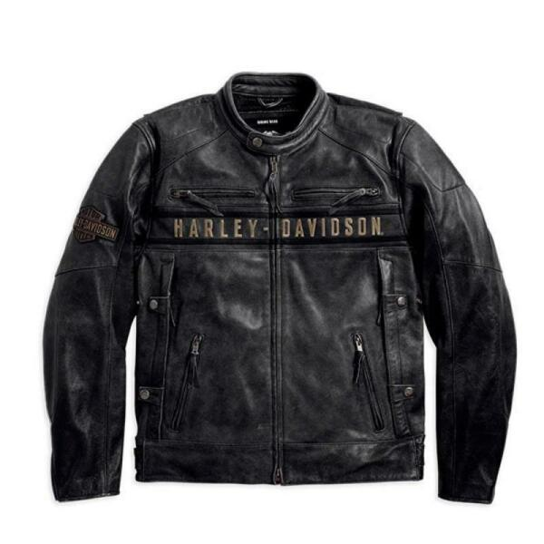 Men#x27;s HD Black Biker Harley Distress Motorcycle Leather Jacket Free Shipping $119.00