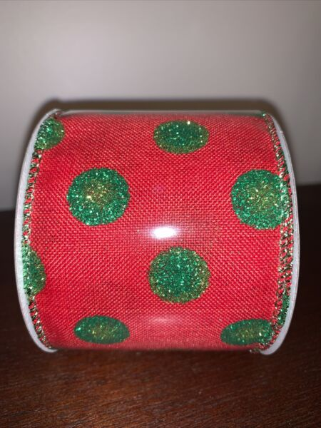 PIER1 Wired Christmas Ribbon Faux RED Burlap Green Polka Dot Glitter 5 Yards NEW