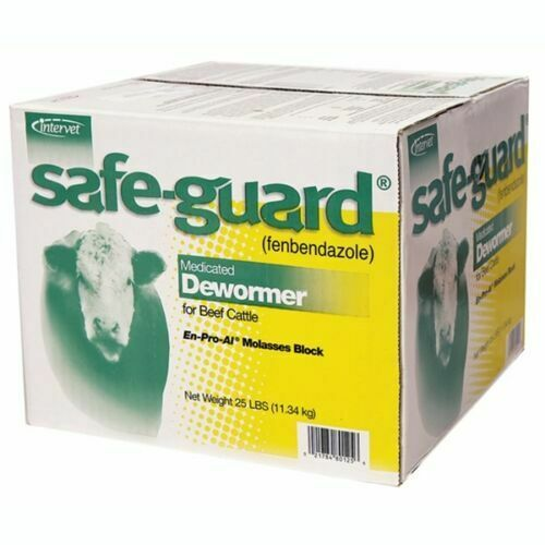 SAFEGUARD DEWORMER BLOCK Cattle Beef Cow Wormer 25 LB Fast Free Ship $72.99