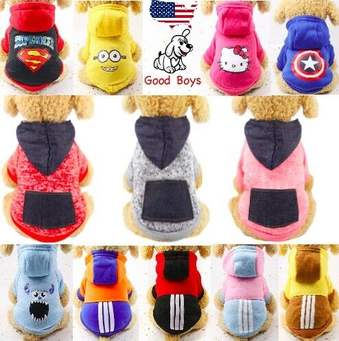 Dog Hoodie Sport Sweater Fleece Long Sleeve Variety Of Styles For Dog Size S M L $5.99