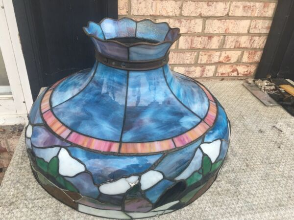 ANTIQUE LARGE STAIN GLASS FLOOR CEILING SHADE BEAUTIFUL OPALESCENT $499.00
