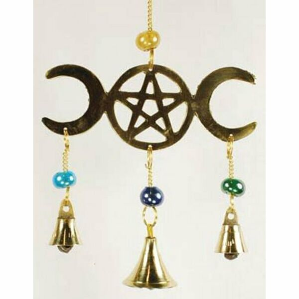 Three Bell Triple Moon wind chime small WHOLESALE Wiccan Witchcraft Pagan Supply $12.04