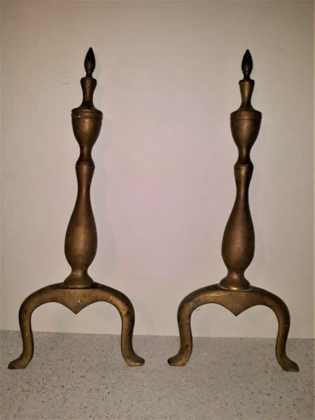 Vintage Fireplace Brass Andirons Rustic Country Decor 18 1 4quot; Restoration Parts