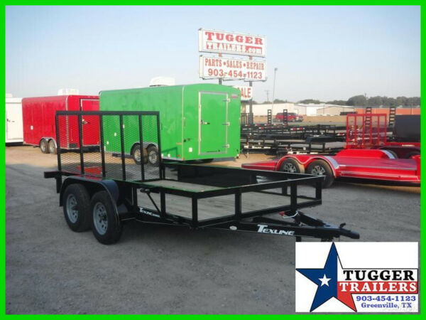 77X12 12Ft Black Ramp Flatbed Utility Pipe Top Equipment Lawn Camp ATV Trailer $2189.00