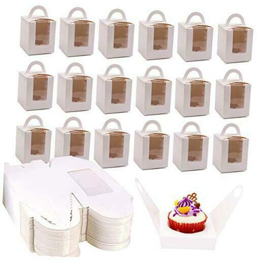 50 Pack Single Cupcake Boxes White Cupcake Boxes with Window Muffins Cupcake