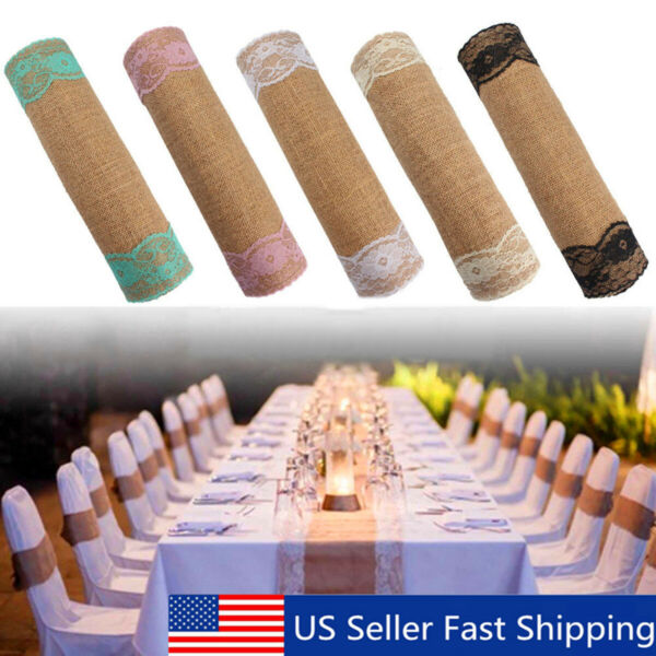 9ft Table Runner Natural Woven Burlap Wedding Home Party Banquet Tableware