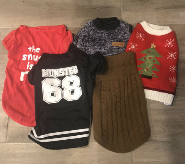 Lot of 5 Boy Dog PET Clothes Size MEDIUM Xmas Sweaters Shirts For 15 20 Lb Dogs $18.99