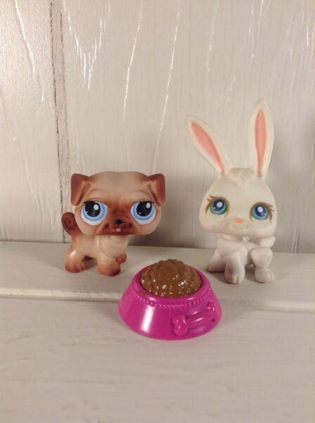 Littlest Pet Shop 1312 Pug Dog and #3 White Bunny Rabbit  $9.29