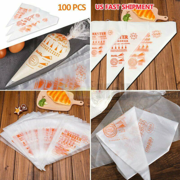 100pcs Plastic Disposable Pastry Bag Icing Piping Cake Cupcake Decorating Tool