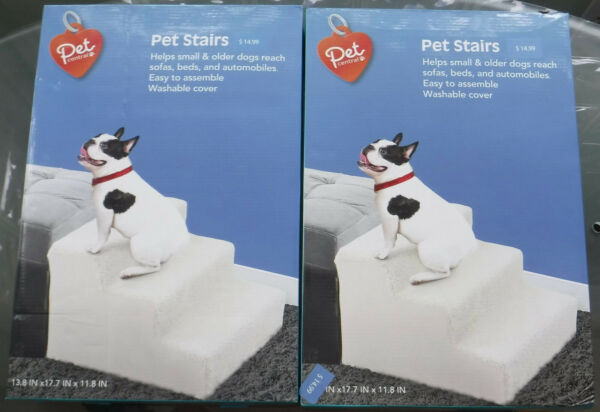 3 Step Stairs for Small Pets Fleece Covered Plastic 2 New Unused NIB