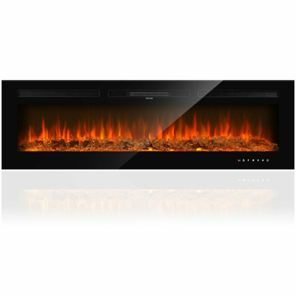 36' '50#x27; Electric Fireplace Recessed Wall Mounted Standing Remote Control Glass