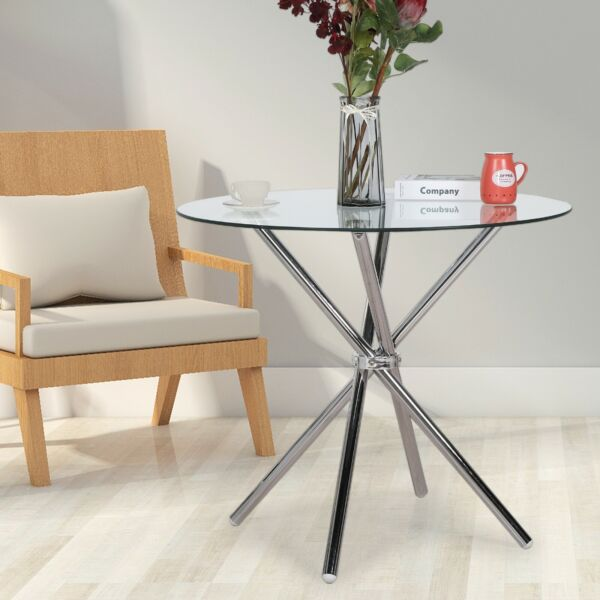 "35"" Modern Kitchen Dining Table Furniture with Round Glass Top Living Room"
