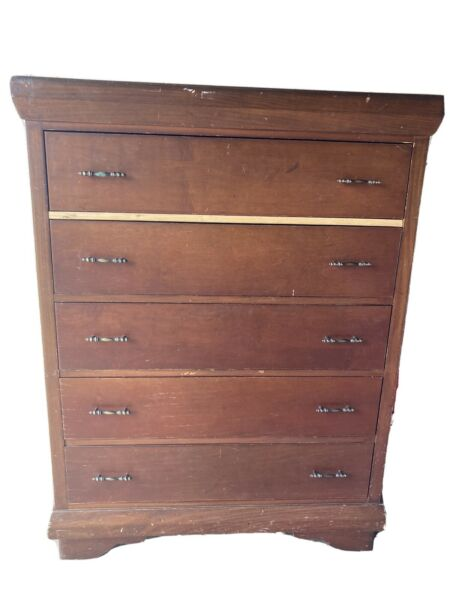 Practical Solid Wood Vintage Highboy Dresser –Federal Sheraton