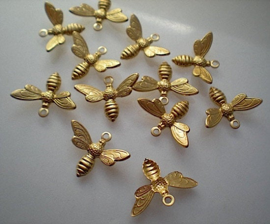 12 small brass bee charms
