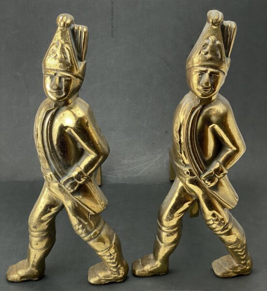 Vintage Fireplace Solid Brass Andirons Firedogs Hessian Soldiers