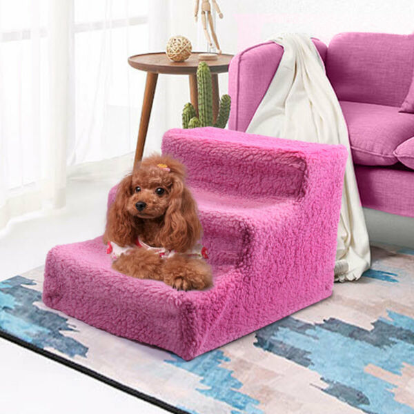 Dog Stairs 3 Levels Height Wide Machine Washable Pet Steps with Cover for Dogs