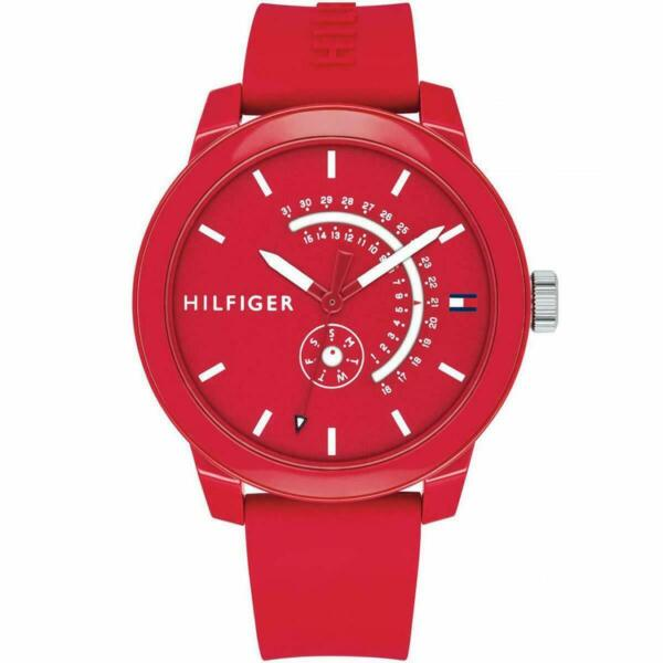 TOMMY HILFIGER 1791480 RED SILICONE DAY DATE MEN#x27;S WATCH $61.99