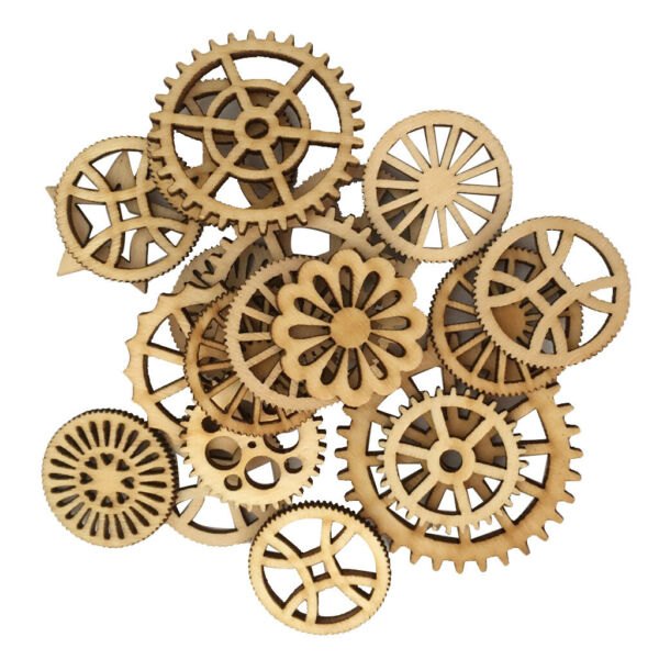 100pcs Mixed Unfinished Blank Wood Wooden Gear Embellishments for DIY Craft