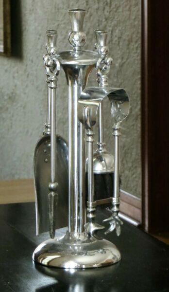 Vintage Chrome Deco 5 pc. Tabletop Small Fireplace Tool Set by Ianthe England