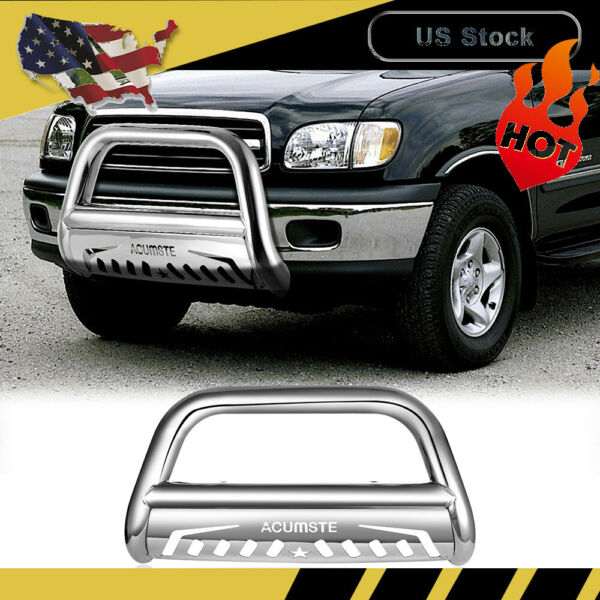 For 2016 2017 Toyota Tacoma Front Bull Bar With Skid Plate Stainless Grill Guard