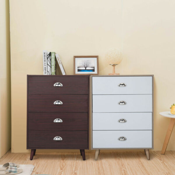 4 Drawers Wooden Nightstand End Table Storage Home Furniture Brown Burlywood $73.99