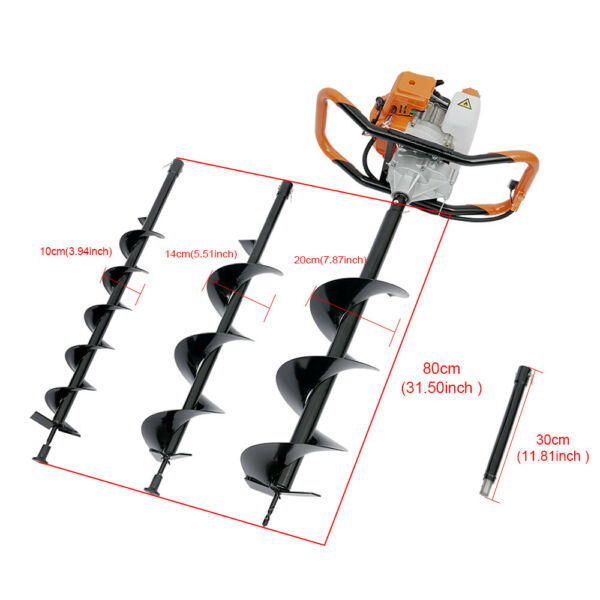 52CC Gas Powered Post Hole Digger with 4quot; 6quot; 8quot;inch Digging Auger Drill Bit 2HP