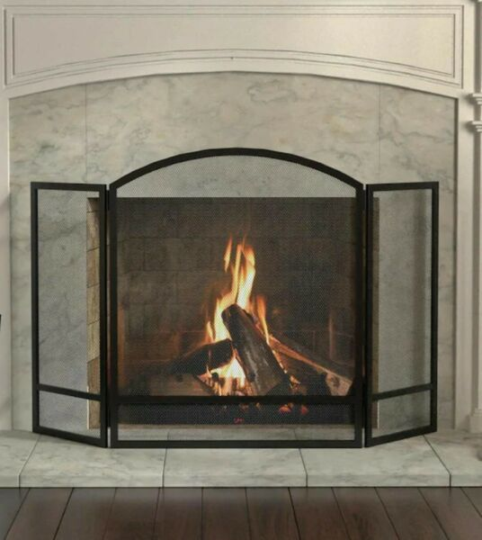 48quot; Black Powder Coated Steel 3 panel Fireplace Screen