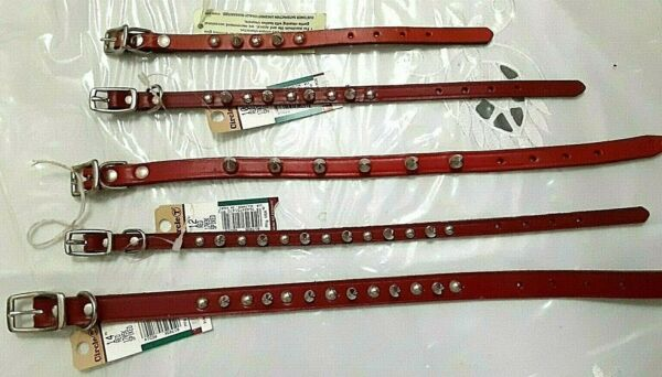RED LEATHER SPIKED DOG COLLARS USA MADE $12.59