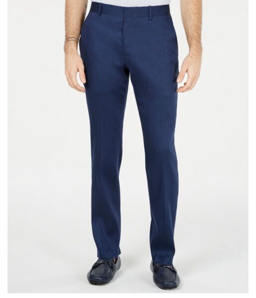 Alfani Mens Dress Pants Navy Blue Size 36x30 Flat Front Linen Stretch $75 NWT $29.99