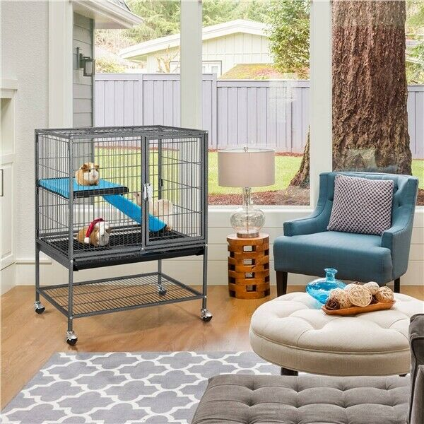 Black Rolling Metal Ferret Chinchilla Rat Guinea Pig Cage Critter Nation Cage