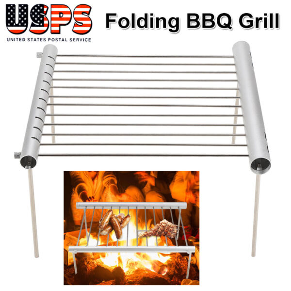 Stainless Steel Outdoor Portable Compact Camping Grill Tube Folding BBQ Rack