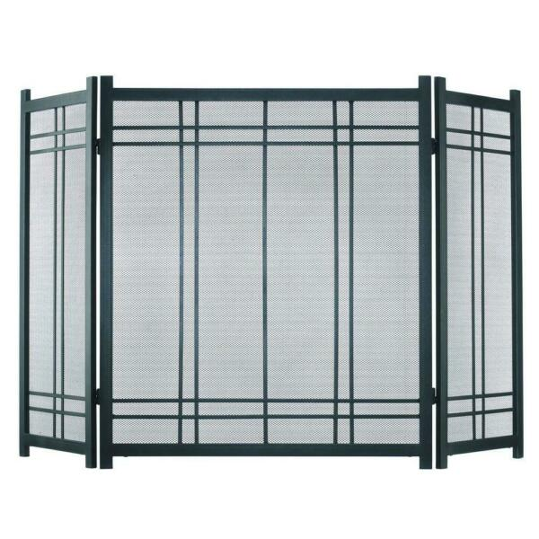 Preston Vintage Iron Steel 3 Panel Fireplace Screen